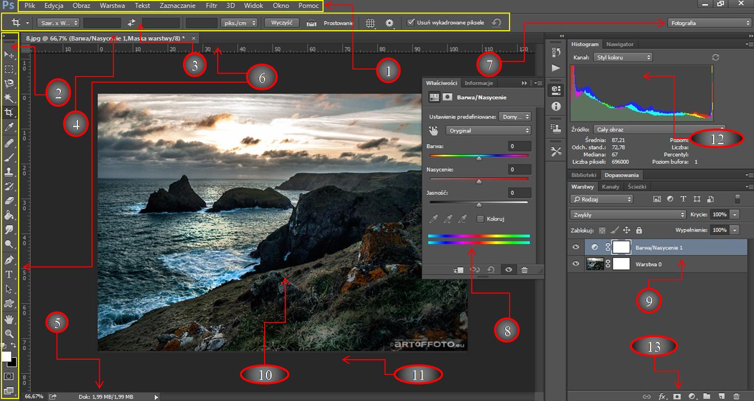 Interfejs programu Photoshop CC 2015 artoffoto.eu - sztuka fotografii